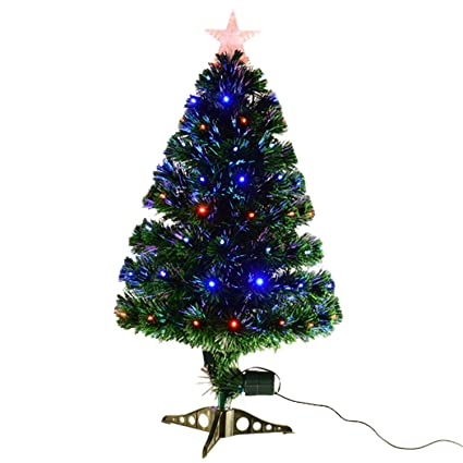 fbdb40fb90b2d Image Unavailable. Image not available for. Colour  HOMCOM 3ft 4ft 5ft  Green Fibre Optic Artificial Christmas Tree Indoor Xmas Tree Multi colour  LED