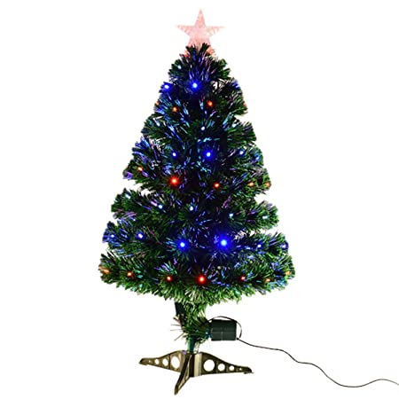 HOMCOM 3ft 4ft 5ft Green Fibre Optic Artificial Christmas Tree Indoor Xmas  Tree Multi colour LED - HOMCOM 3ft 4ft 5ft Green Fibre Optic Artificial Christmas Tree