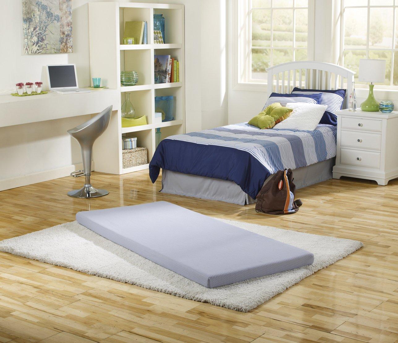 Simmons IMCE050TW BeautySleep Siesta Memory Foam Mattress: Roll-Up Guest Bed/Floor Mat, 3'' Single by Simmons