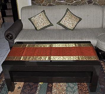 Indian Handmade Traditional Design Silk Center Table Cloth Runner 152 X 41  Cm