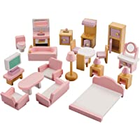 NextX Wooden Dollhouse Furniture Set, Miniature Wooden Toys for Toddler, Bathroom/ Living Room/ Bedroom/ Kitchen…