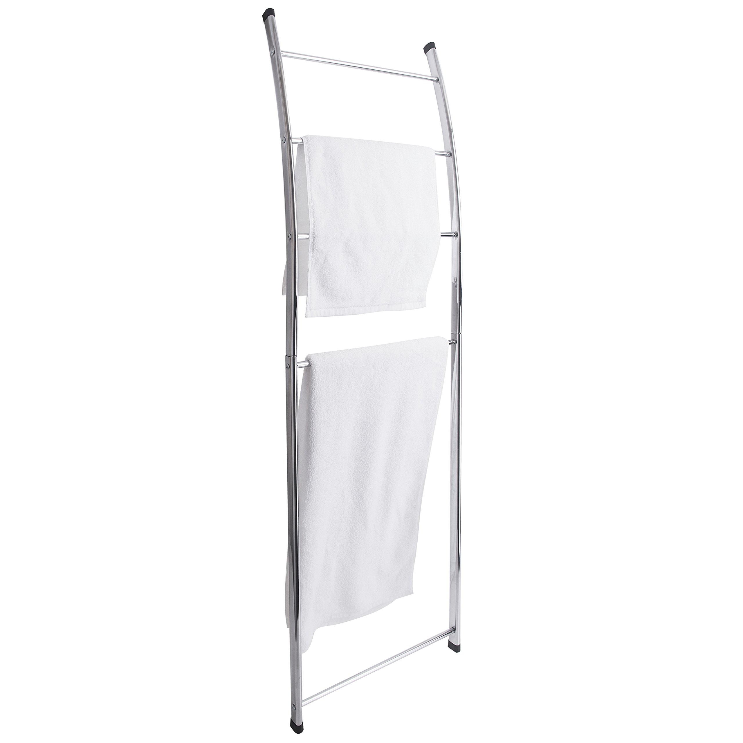 MyGift 4 Bar Chrome-Plated Bath Towel Ladder, Wall-Leaning Drying Rack Stand by MyGift