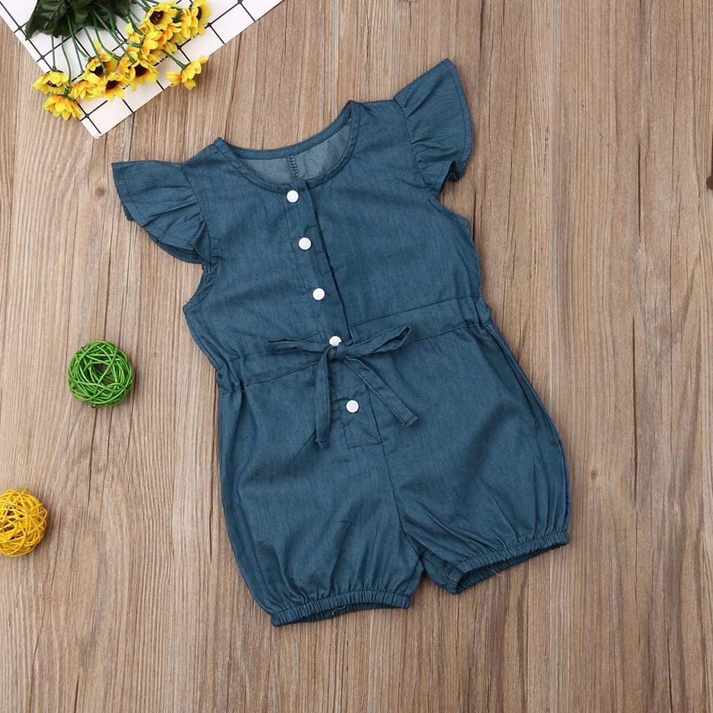Anxinke Toddler Girls Summer Fly Sleeve Button O Neck Rompers