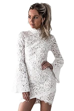 66bf7c3ba8c shelovesclothing Women s White Crochet Lace Shell Long Bell Sleeves High  Neck Mini Bodycon Dress - Regular