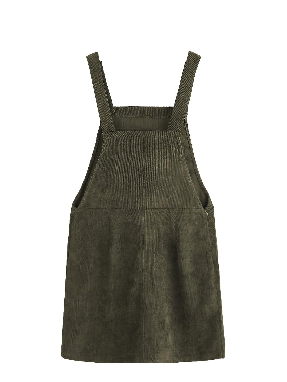 57a67b5f388 Romwe Women s Straps A-line Corduroy Pinafore Bib Pocket Overall Dress at  Amazon Women s Clothing store
