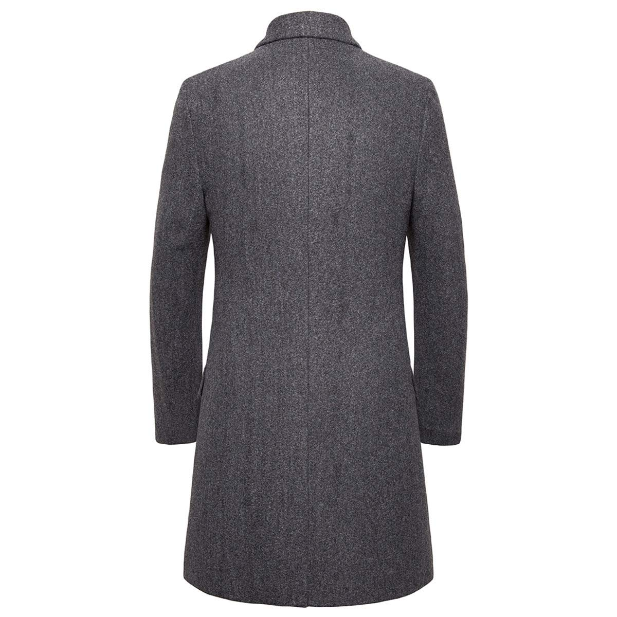 AOWOFS Mens Long Trench Coat Slim Fit Single Breasted Business Lapel Thick Warm Jacket