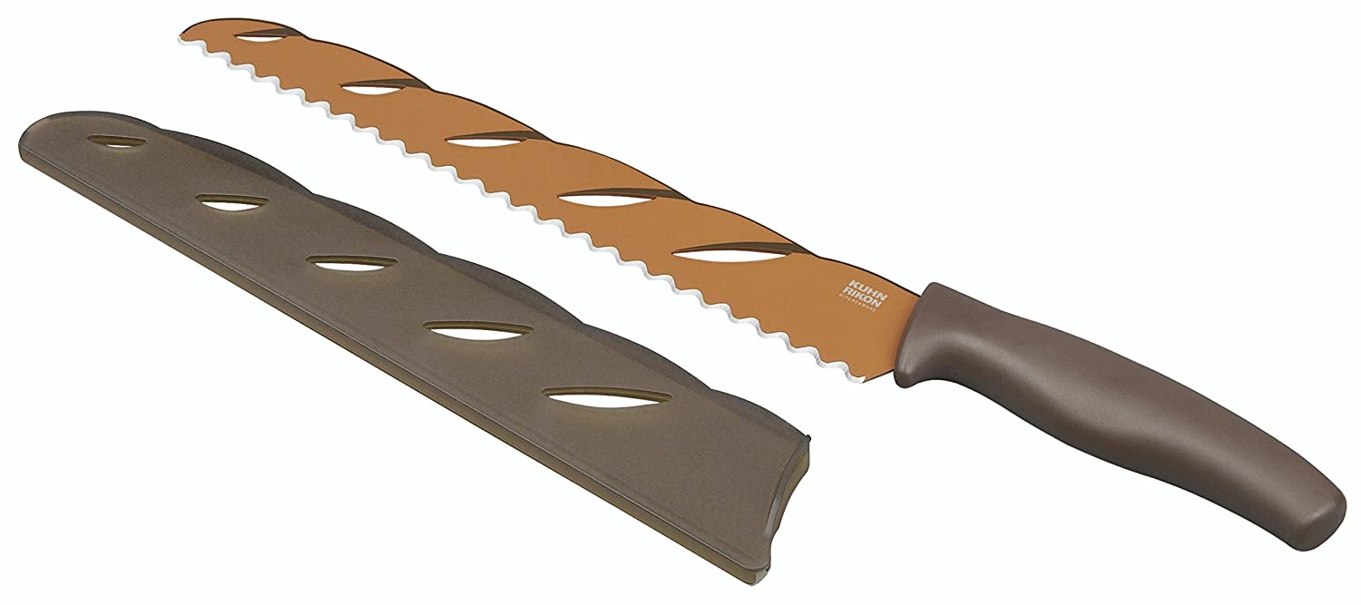 Kuhn Rikon Colori Non-Stick Bread and Baguette Knife with Safety Sheath, 40.5 cm, Brown FBA_23505