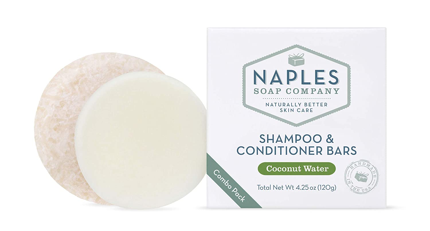 Naples Soap Company Handmade Shampoo Bar + Hair Conditioner Bar Boxed Set, Eco-Friendly Haircare for Nourished & Healthy Hair, Coconut Water