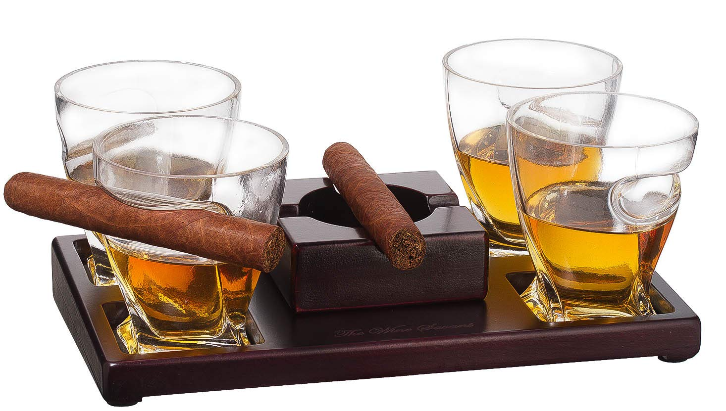 Cigar Holder Glasses Set, Old Fashioned Whiskey Tumbler with Ashtray and an Elegant Wood Base - The Wine Savant, Perfect for Resting Cigars and Sipping your Favorite Spirits