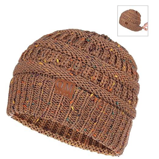 214c79222f75b OMECHY Womens Winter Beanie Hat Knitted Slouchy Cap Messy Bun Ponytail  Beanie Wool Warm Daily Skull
