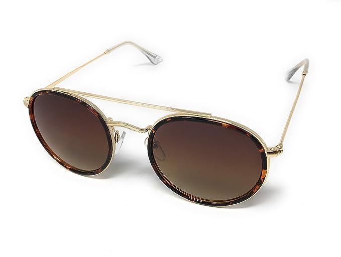 Gafas de Sol Aviador de Marco Redondo para Hombre y Mujer Estilo Vintage Clásico con protección UV400 y Lentes Cat.3