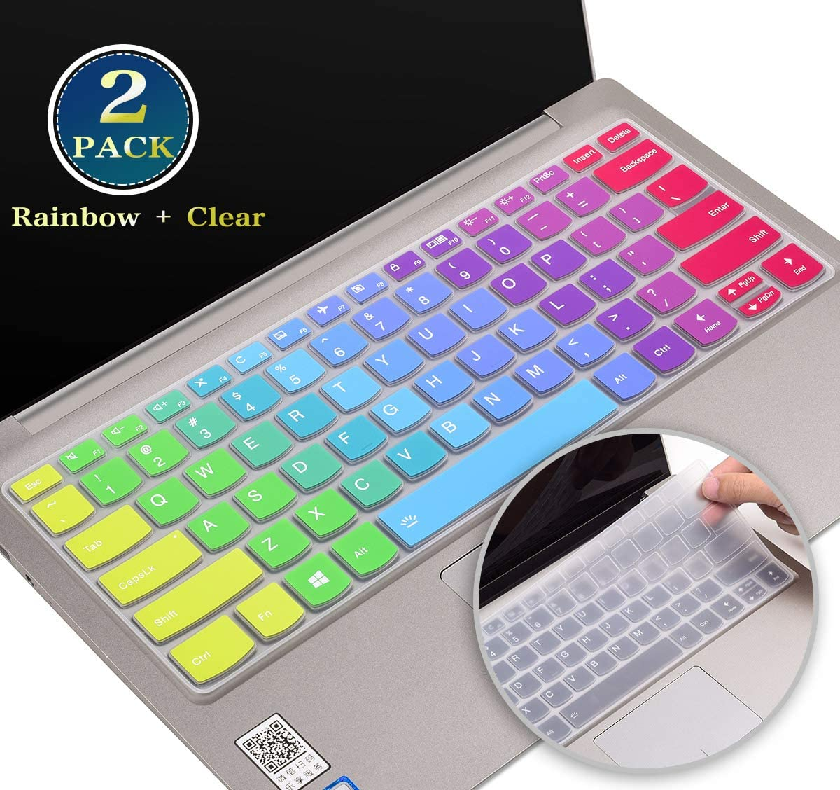 "for Lenovo Yoga C940 C740 Keyboard Cover 14 Inch, Silicone Keyboard Skin for Lenovo Flex 15/Flex 14, Lenovo Yoga C930 13.9"",Lenovo Yoga 720 13.3"" 12.5"" Protector(Rainbow+Clear)"