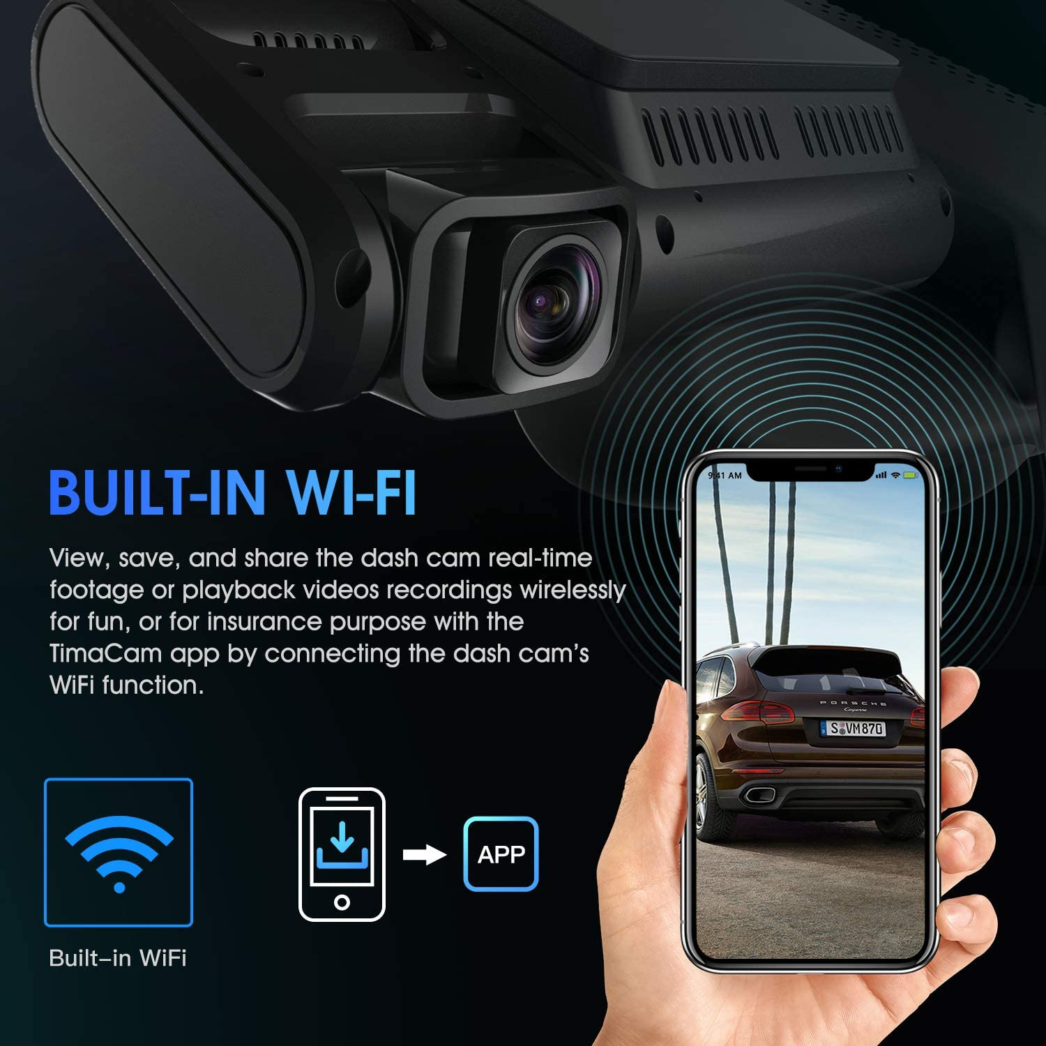 G-Sensor WiFi Loop Recording Pruveeo D40 Three and Dual Channel Dash Cam 3.0 inch LCD Night Vision Front Inside and Rear with Backup Camera Dash Camera for Cars Supercapacitor