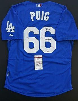 newest 74bad aed8b Yasiel Puig Autographed LA Dodgers, Ins.Wild Horse Size 52 ...