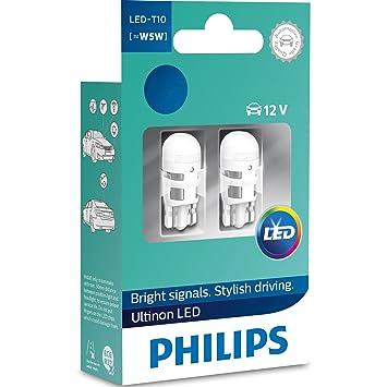 Philips Ultinon LED W5W 4000K Bombillas de Coche (Doble) 11961ULW4X2: Amazon.es: Coche y moto
