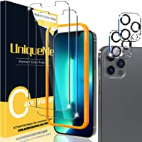 [2+2 Pack] UniqueMe Compatible with iPhone 13 Pro Max Screen Protector and Camera Lens Protector Tempered Glass [Easy…