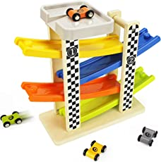 iPlay, iLearn Wooden Big Ramp Car, Race Track Parking Garage Set, Learning N Activity Playset with Vehicles 4 Mini Wood Racers, Gifts Cars for 2, 3, 4, 5 Year Olds Boys, Girls, Kids, Toddlers