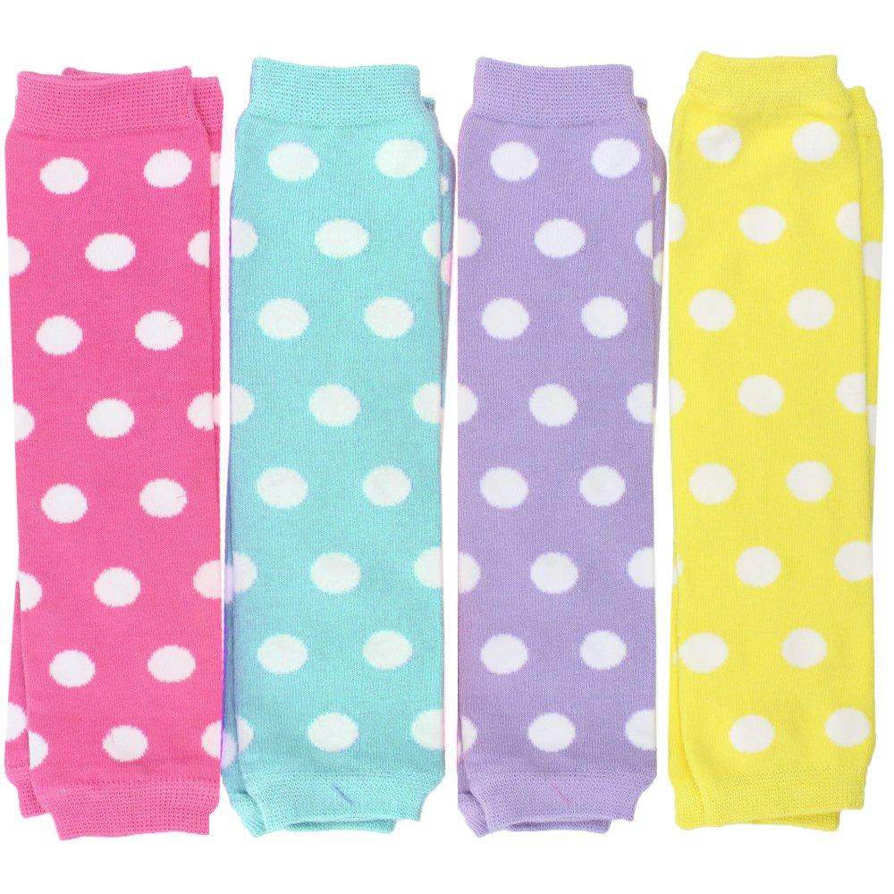 JuDanzy-Coffret Cadeau de 4 paires Jambières-Bébé et Enfant-Garçon ou Fille -0-4 ans-Coton (Fille Bandes) GIRLYSTRIPES4PK