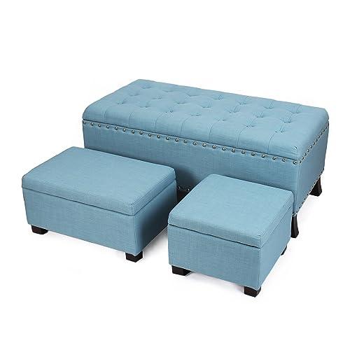 Decent Home Storage Ottoman Bench for Living Room Bedroom, Set of 3 Blue