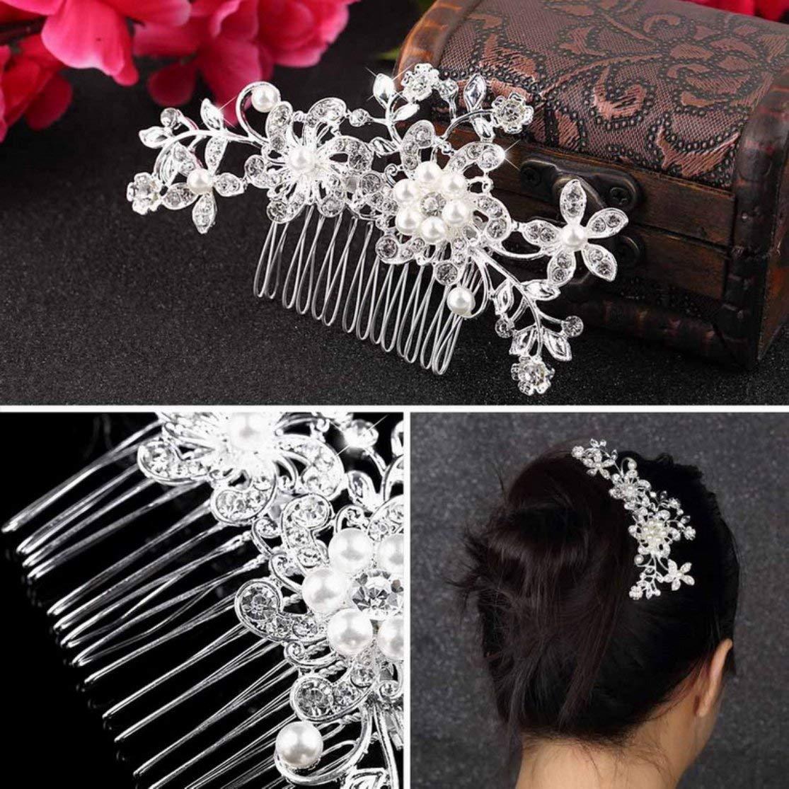 LouiseEvel215 Blumenhochzeits-Tiara-funkelnder Kristall simulierte Perlen-Brauthaark/ämme-Haarnadel-Schmuck-Haar-Zus/ätze