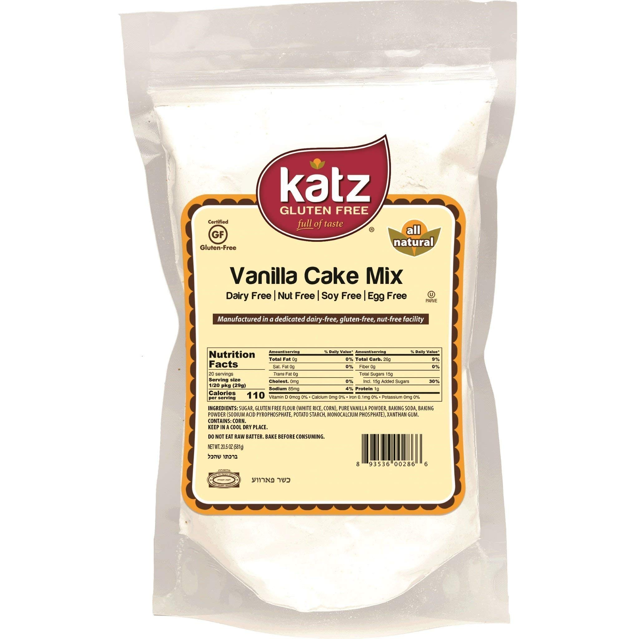 Katz Gluten Free Vanilla Cake Mix | Dairy, Nut, Soy and Gluten Free | Kosher (6 Packs, 20.5 Ounce Each) by Katz Gluten Free