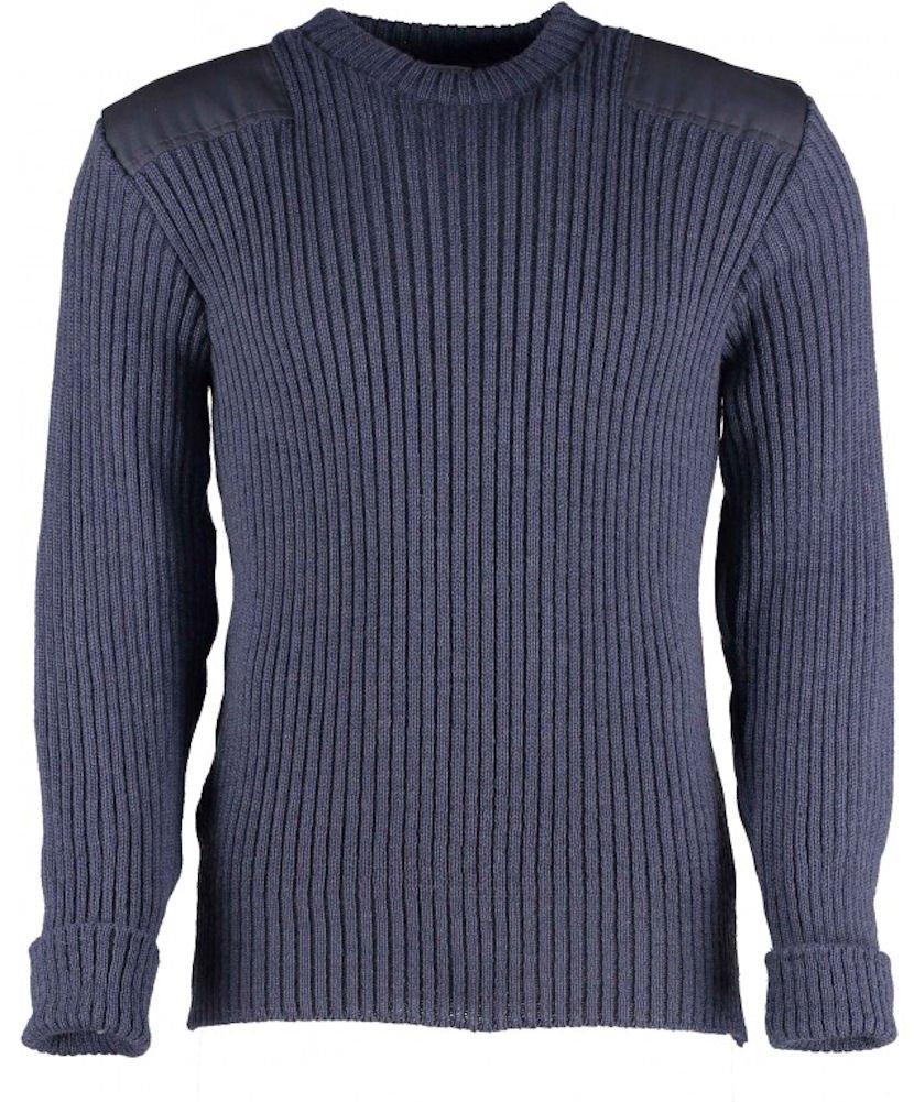 British Commando Sweater Woolly Pully Crew Neck (XL (48-50 inch), Blue/Grey)