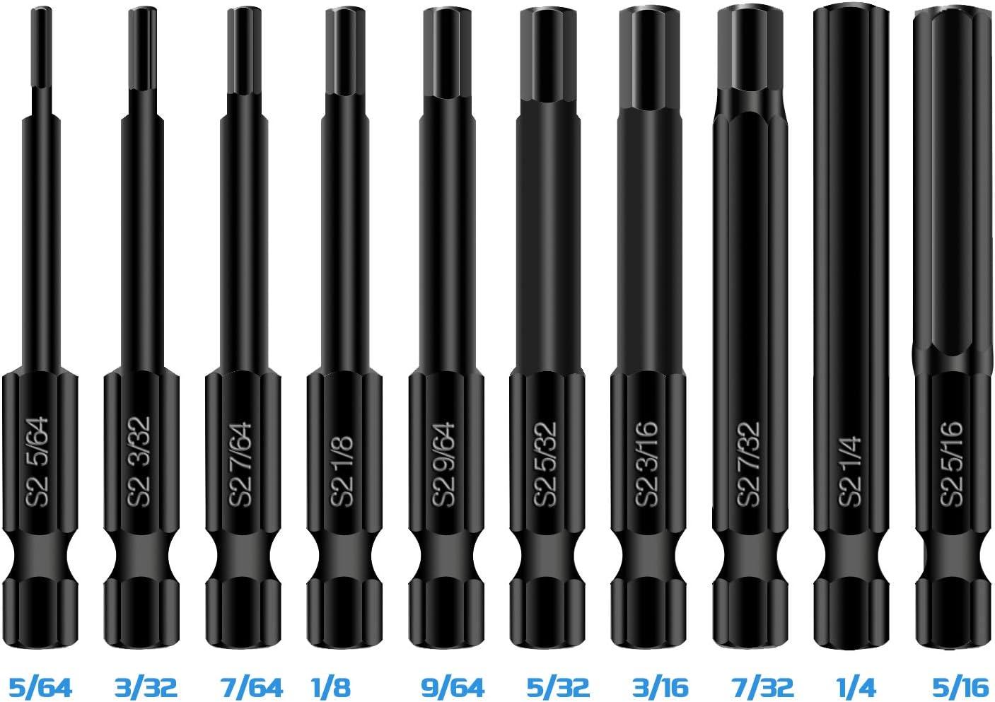 Mgtgbao Magnetic 1//4 Inch Hex head Screwdriver Bit Set Tips . 50mm Length 10PCS Hex Head Allen Wrench Drill Bit Set