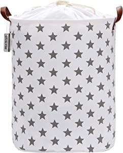 Sea Team 19.7 Inches Large Sized Waterproof Coating Ramie Cotton Fabric Folding Laundry Hamper Bucket Cylindric Burlap Canvas Storage Basket with Stylish Grey Stars Design