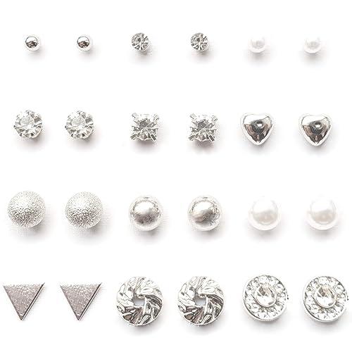 YouOne pack 12 pendientes mujer plata set joyeria plateado circonita, perlas, brillantes, acero imitacion plata joyas de mujeres joyeria y bisuteria ...