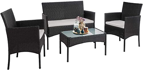Walsunny 4 Pieces Outdoor Patio Furniture Sets Rattan Chair Wicker Set,Outdoor Indoor Use Backyard Porch Garden Poolside Balcony Furniture Black