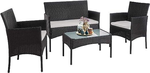 P PURLOVE Patio Furniture Sets 4 Pieces Outdoor Rattan Sofa Wicker Furniture Set Outdoor Wicker Sectional Set for Balcony Poolside Backyard Porch Poolside Garden