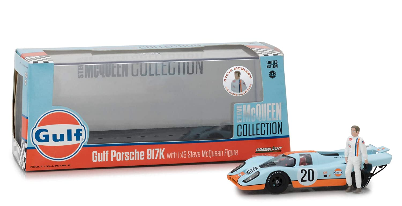 1930-1980 1//43 Diecast Model Car by Greenlight 86435 SG/_B07GZXFQDC/_US 1970 Porsche 917K Gulf #20 with Steve McQueen Figurine Steve McQueen Collection