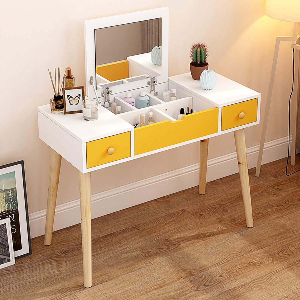 Dressing Table, Multifunctional Makeup Table Wood Vanity Set with Flip Top Mirror Writing Desk with 2 Drawers 5 Removable Divider Easy Assembly