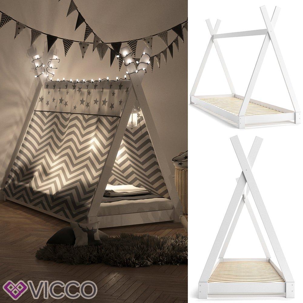VICCO Kinderbett TIPI Kinderhaus Indianer Zelt Bett Kinder Holz Holz Holz Haus Schlafen Spielbett Hausbett 90x200 (natur) cb022d