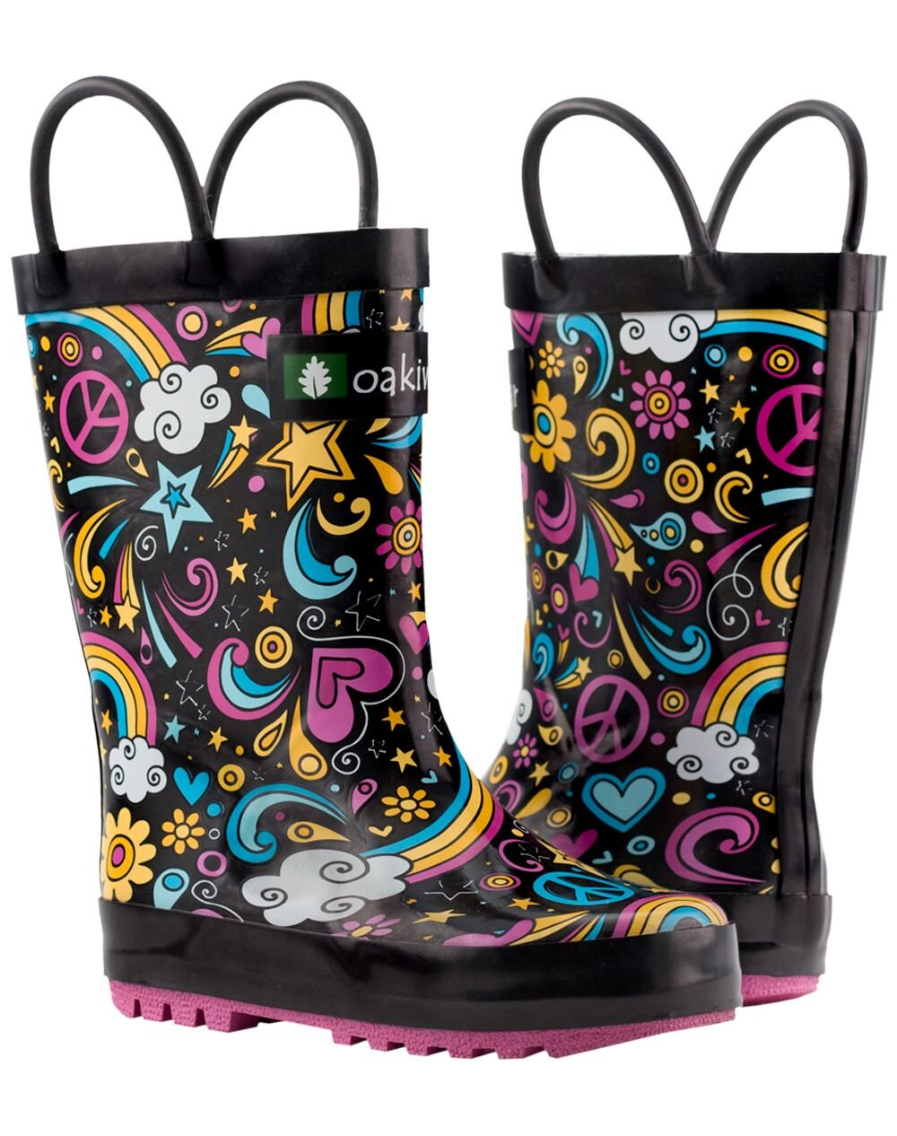 Oakiwear Kids Rubber Rain Boots with Easy-On Handles, Peace, Love & Rainbows, 11T US Toddler, Peace by Oakiwear (Image #10)