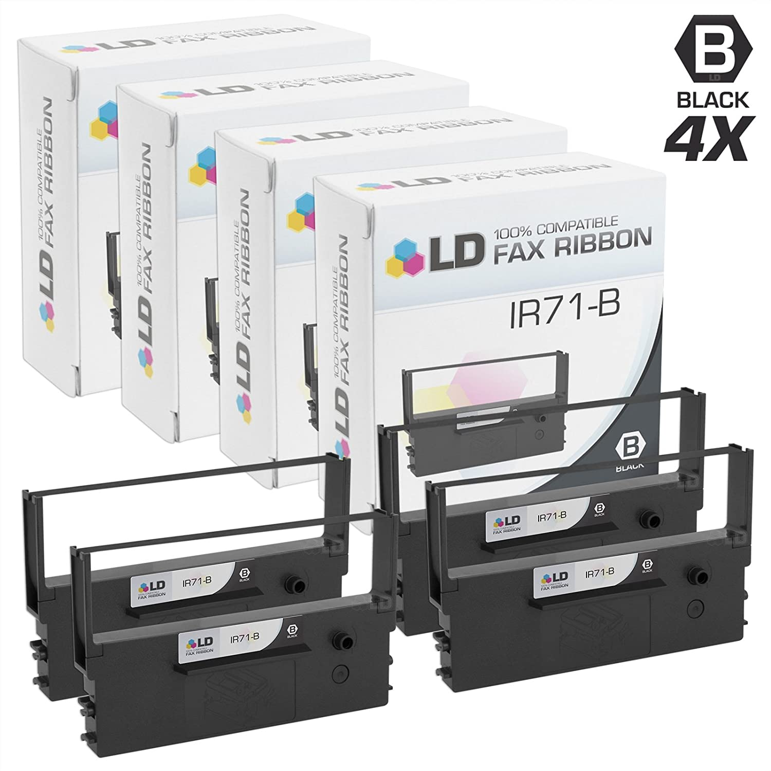 LD Compatible Printer Ribbon Cartridge Replacement for Citizen IR71-B Black, 2-Pack