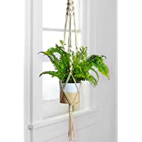 ecofynd® Macrame Indoor Plant Hanger [Without Pot] | Cotton Rope Flower Pot Holder for Indoor Outdoor Balcony Garden Wall | Home Décor Basket Hanger, Set of 1