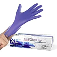 Powder Free Disposable Gloves X Large - 100 Pack - Synthetic Nitrile - Extra Strong, 4 Mil Thick - Latex Free, Food Safe, Blue - Medical Exam Gloves, Cleaning Gloves