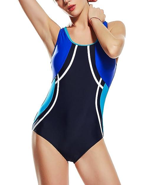 Amazon.com: Uhnice Traje de baño deportivo de una pieza para ...