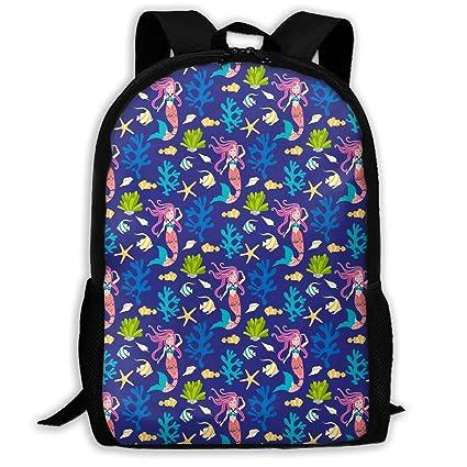 Cute Mermaid School Backpack Casual Daypack Bolsas Multiusos ...