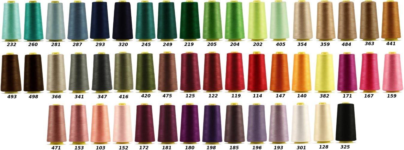 4 Conos de Hilos Overlock 100/% LIALINA Colores Brillantes de M/áxima Calidad Hilo Para Remalladora Resistente 3000 Yardas Duradero Poli/éster para Coser a M/áquina y Remallar 40S//2 114 Rojo
