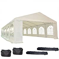 32'x16' PE Party Tent White - Heavy Duty Wedding Canopy Carport Shelter - with Storage Bags - By DELTA Canopies