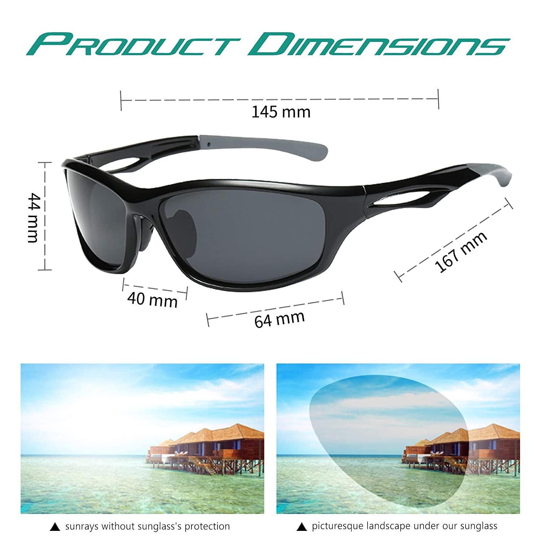32ac7fb5a11 Amazon.com  Livhò Sports Polarized Sunglasses Running Baseball Cycling Fishing  Glasses Durable Frame (Black Grey+Black Grey)  Everything Else