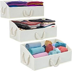 Sorbus Storage Bins [3-Pack] Fabric Storage Baskets, Foldable Closet Organizer Trapezoid Storage Box (Beige)