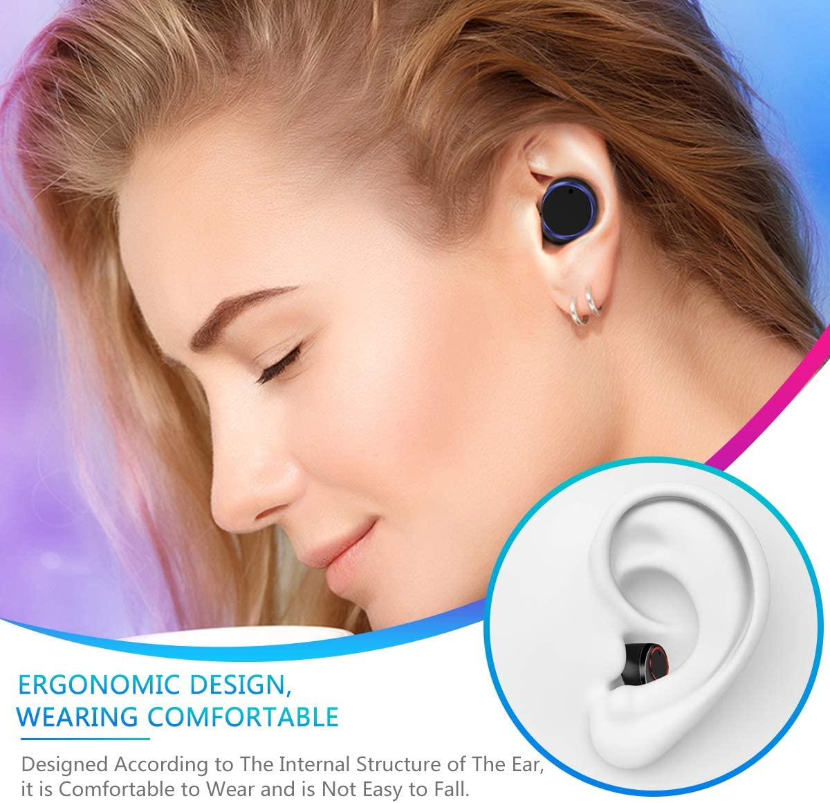 Wireless Earbuds, RegeMoudal Bluetooth Earbuds with Charging Display,Bluetooth Headset Wireless Earphones IPX7 Waterproof Bluetooth 5.0 Hi-Fi Stereo Sound with 4000mAH Charging Case