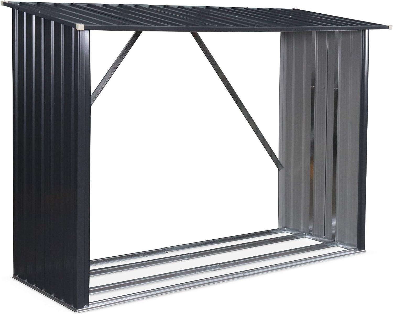 Alices Garden - Caseta para leña en metal gris antracita: Amazon ...