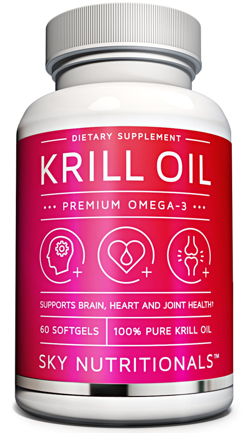 Sky Nutritionals, Premium Strength NKO Antarctic Krill Oil, 1,000mg per serving, Omega-3 EPA,; Astaxanthin. Supports heart, brain and joint health. 60 - Easy to swallow softgel capsules per bottle.