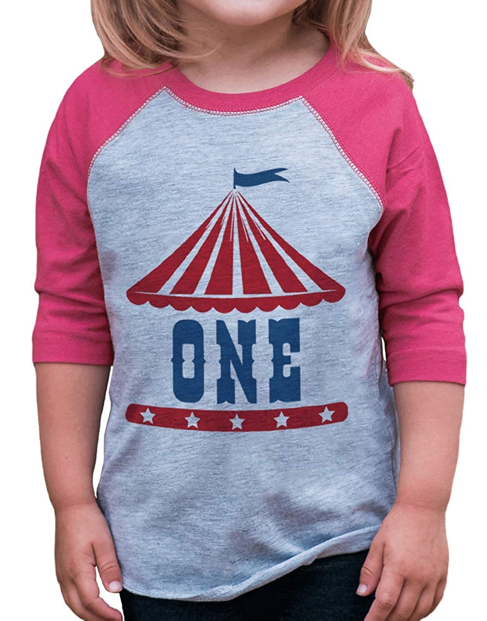 7 ate 9 Apparel Girls Birthday Circus Pink Raglan