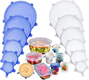 Silicone Stretch Lids, Reusable Silicone Food Covers Lid to Fit Multiple Containers Sizes to Keep Food Fresh Freezer, Expandable Silicone Covers for Fresh Food & Leftovers (Pack of 12)