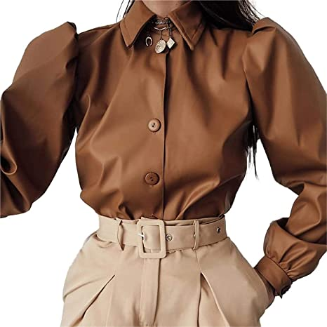 Blusa Top De Cuero De Imitación para Mujer De Moda Esquinas ...